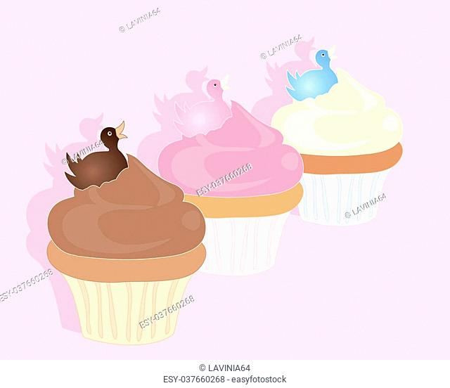 an illustration of three delicious cupcakes with fondant duck decoration on a candy pink background with space for text