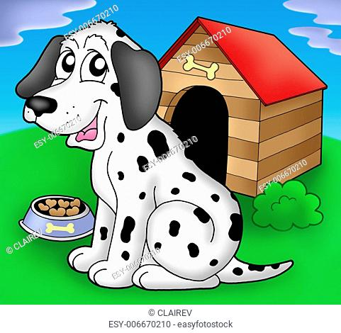 Dalmatian dog if front of kennel - color illustration