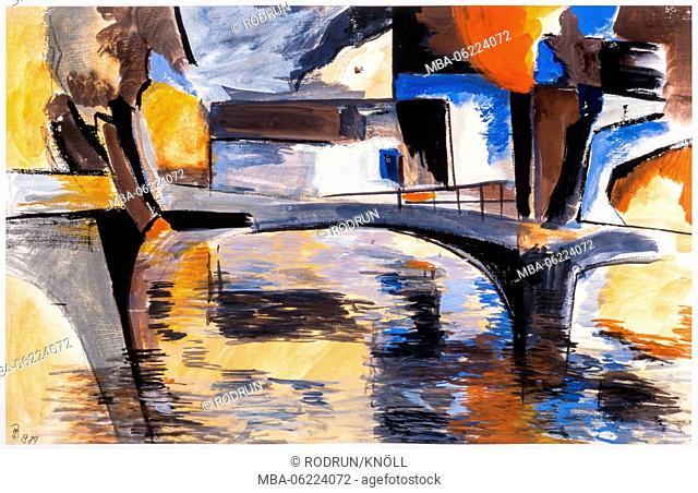 Painting of Pia Bühler, Bursting jetty 2