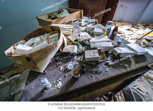 Old medicines in Hospital No. 126 of Pripyat ghost city, Chernobyl Nuclear Power Plant Zone of Alienation around nuclear reactor disaster, Ukraine