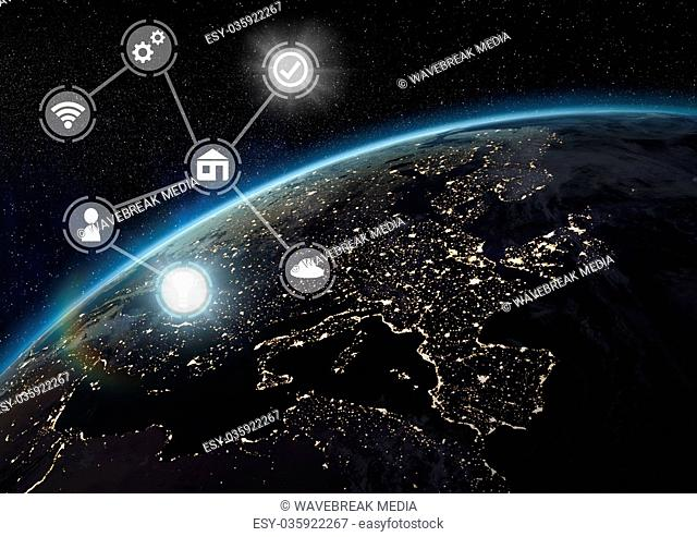 Icons interface of Internet Of Things over earth planet background