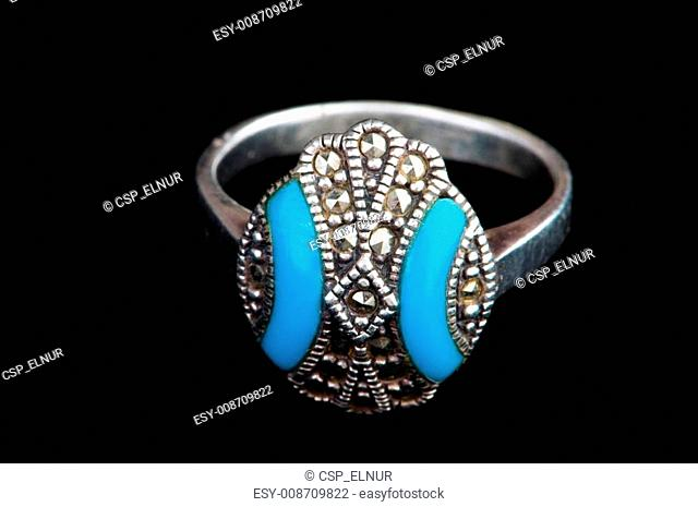 Jewellery ring isolated on the black background