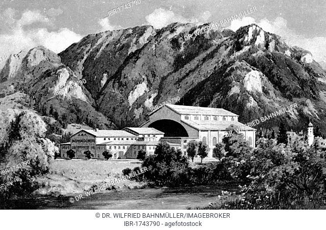 House of the Passion Play, black and white postcard, Passion Play Oberammergau 1934, Upper Bavaria, Germany, Europe
