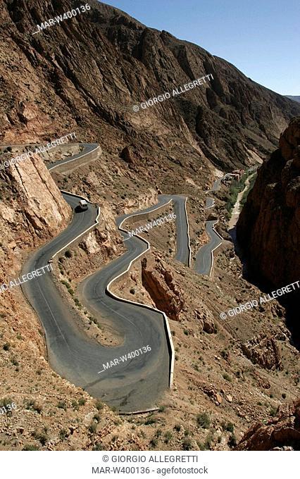 alto atlante, valle di dadés, gola-passo, morocco, africa