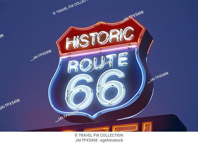 Route 66 / Route 66 Motel Sign / Night View, Seligman, Arizona, USA