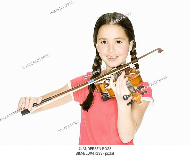 Pacific Islander girl playing violin