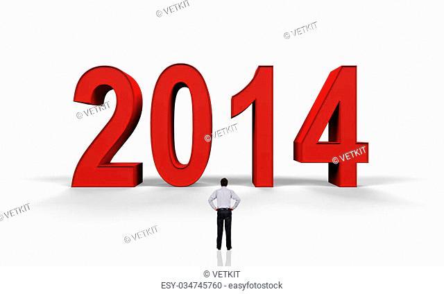 businessman looking at big number 2014
