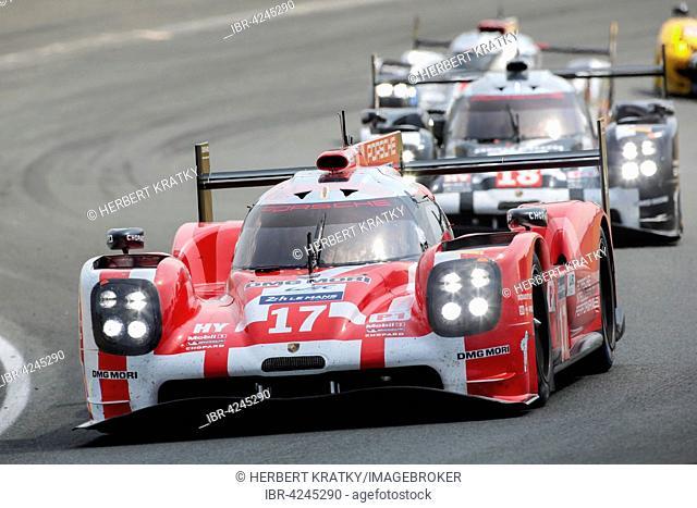 Porsche 919 Hybrid Porsche team, GER, with drivers Timo Bernhard, GER, Mark Webber, AUS, and Brendon Hartley, NZL, Circuit de la Sarthe, Le Mans, France