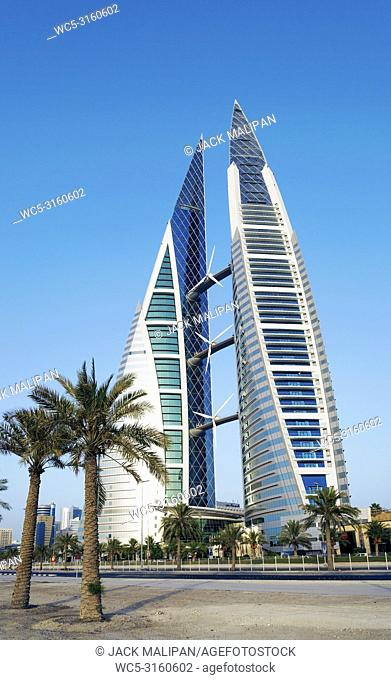 world trade center modern landmark building in central manama city bahrain