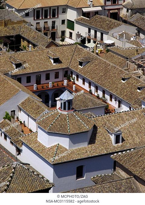 View from the Alhambra at the roofs of Granada, Andalucia, Spain