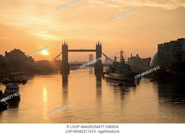Autumn sunrise over Tower Bridge in London