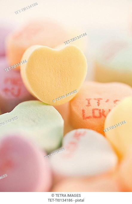 Close up of candy hearts