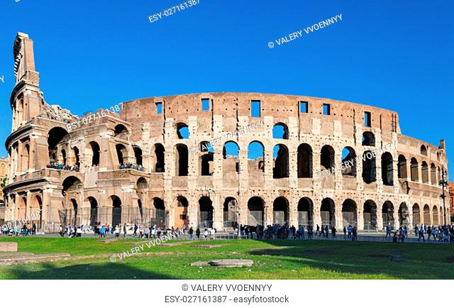 travel to Italy - ancient roman amphitheatre Colosseum in Rome city