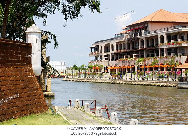Waterway with old fortress in the city of Malacca, Bandar Melaka, Malaysia