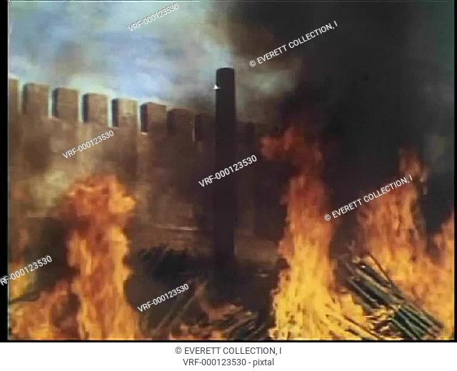 Wide shot burning stake