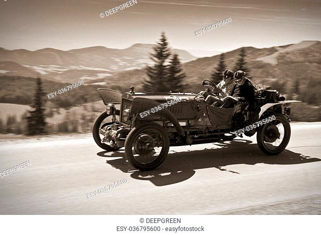 SOMMERALM, AUSTRIA - APRIL 27: An unidentified driver in a 1908 Brasier Racer participates in a rally for vintage cars;Suedsteiermark Classic; on April 27