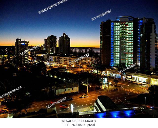 Buildings during night in Coolangata, Australia