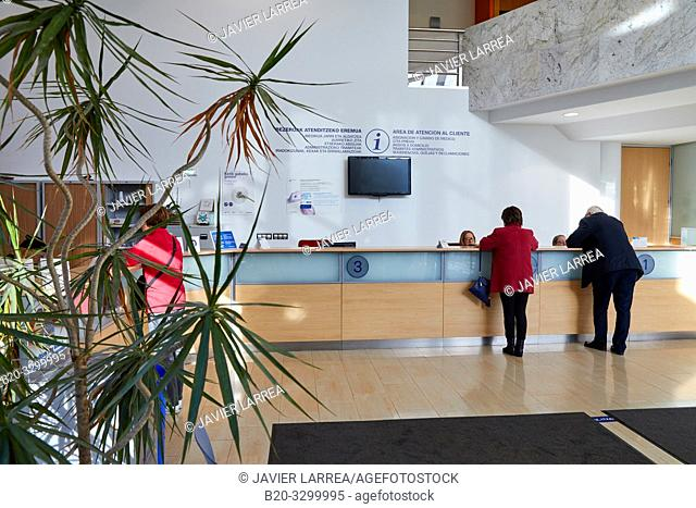 Reception, Amara Berri Health Center building, Donostia, San Sebastian, Gipuzkoa, Basque Country, Spain