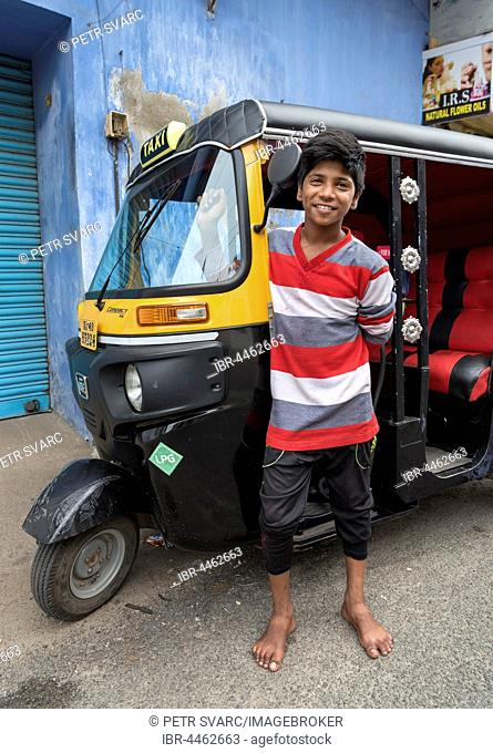 Boy with autorickshaw, Jew Town, Fort Kochi, Cochin, Kerala, India