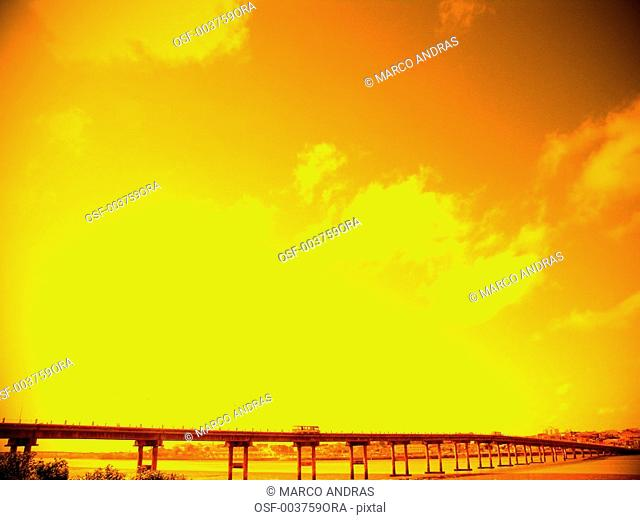 sao luis do maranhao sunset light falling into the bridge view