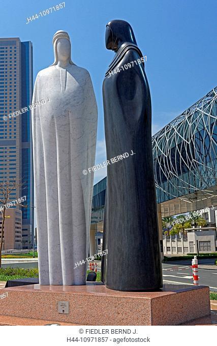 Asia, United Arab Emirates, UAE, Dubai, Sheikh Mohammed Bin Rashid boulevard, piece of art, Together, artist, performer, Lutfi Romhein, metro Dubai Mall link