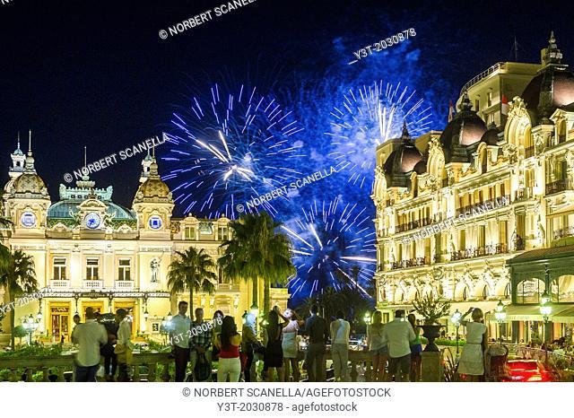 Principality of Monaco, Monte Carlo. Fireworks front of the casino