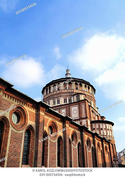 Convent of Santa Maria della Grazie - church where Leonardo da Vinci Last Supper was painted in Milan, Lombardy, Italy