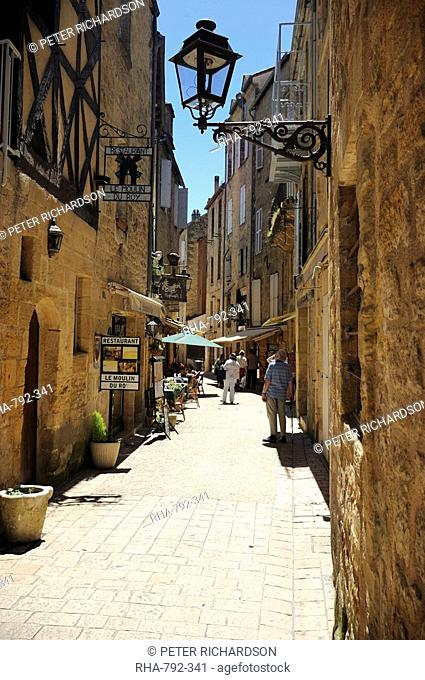 Street in the medieval old town of Sarlat, Dordogne, France. Europe