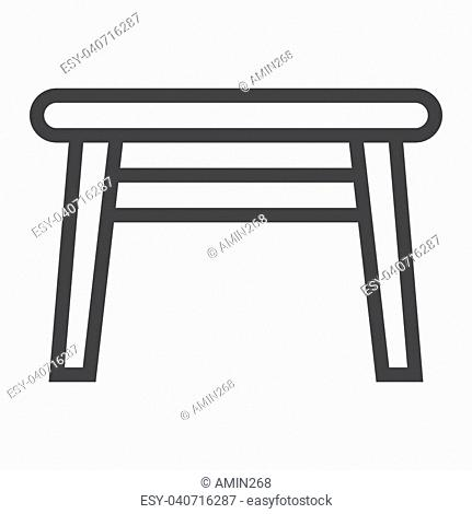 Table line icon, Furniture and interior element, vector graphics, a linear pattern on a white background, eps 10