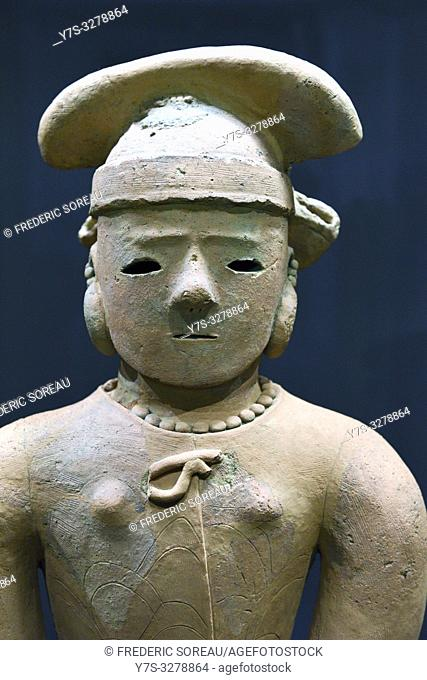 Haniwa,Terracotta tomb figurine,woman in formal attire,Kofun period,6 th century,Tokyo National Museum,Tokyo,Honshu,Japan,Asia