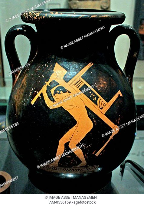 Athenian red-figure pottery pelike, found in Gela, Sicily, fifth century BC. A slave-boy carrying furniture (a couch and a table) for a symposium