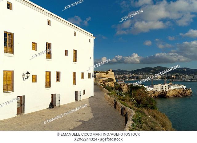 View of the Port of ibiza, Dalt Vila, Eivissa, Ibiza, Balearic Islands, Spain, Mediterranean, Europe