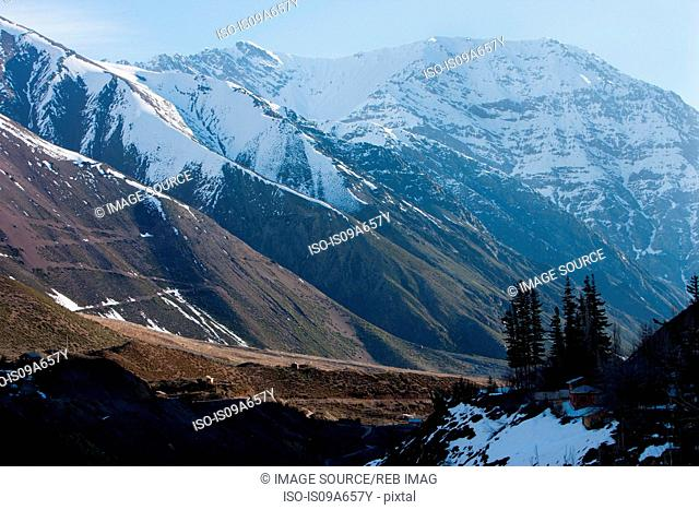 Aerial view of snowy mountain valley