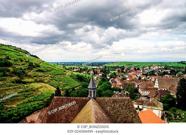 Wide panoramic bird-fly view. Alsace hills