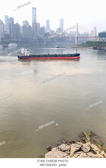 Confluence of Jialing and Yangtze rivers