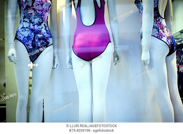 Shop window, clothing store, swimsuit. East End, London