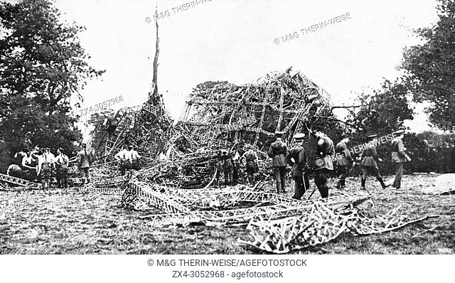Remains of the German zeppelin L-15 shot down near Potter's Var, 1916, Great Britain