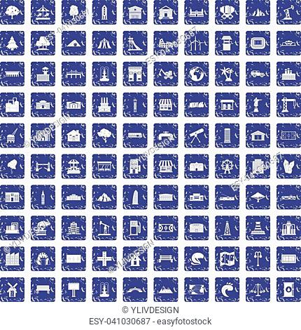 100 landscape element icons set in grunge style sapphire color isolated on white background vector illustration