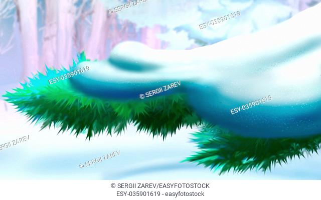 Fir or Pine Branch Covered with Snow. Handmade illustration in a classic cartoon style