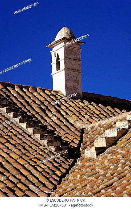 Bolivia, Potosi department, Potosi province, Potosi, town listed as World Heritage by UNESCO, Casa de la Moneda, rooftop chimney