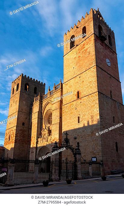 Santa María la Mayor Cathedral at sunset, Sigüenza, Guadalajara province, Castile La Mancha, Spain. Historical Heritage Site