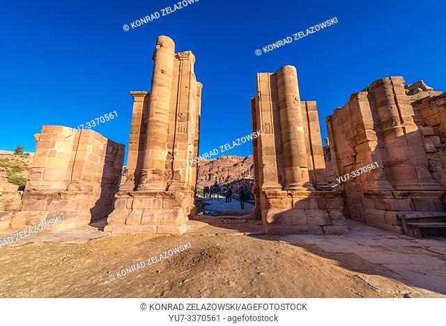 Hadrian Gate in Petra historical city of Nabatean Kingdom in Jordan