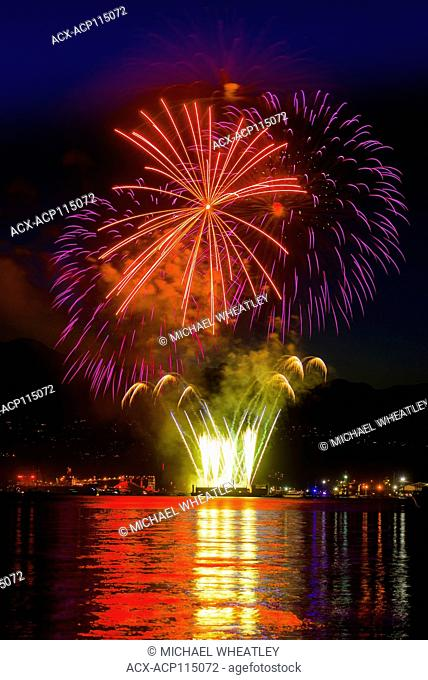 Canada Day Fireworks, Burrard Inlet, Vancouver, British Columbia, Canada