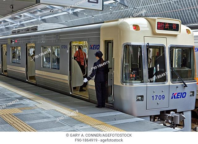 Local train at station-female engineer-Tokyo-Japan