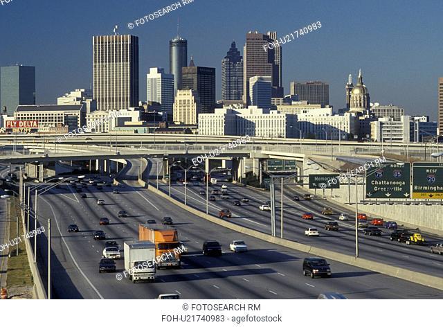 Atlanta, GA, Georgia, Skyline of downtown Atlanta along I-75/I-85