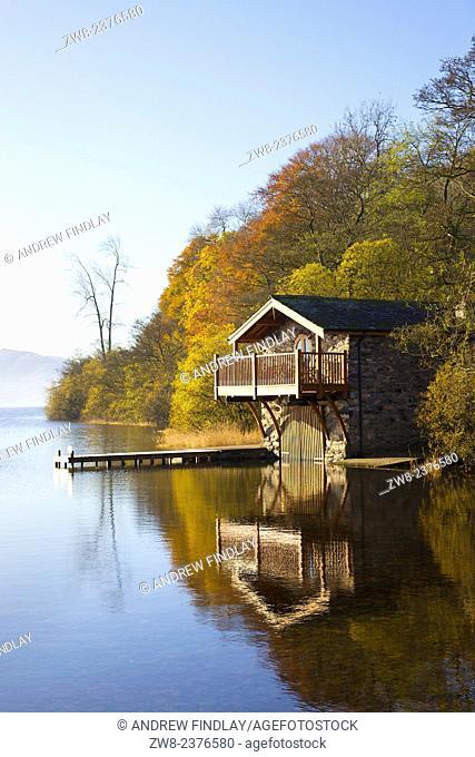 Boat House autumn Ullswater, Lake District National Park, Cumbria England UK