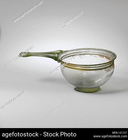 Glass trulla (pan). Period: Imperial; Date: 1st-4th century A.D; Culture: Roman; Medium: Glass; blown; Dimensions: H.: 2 3/8 in