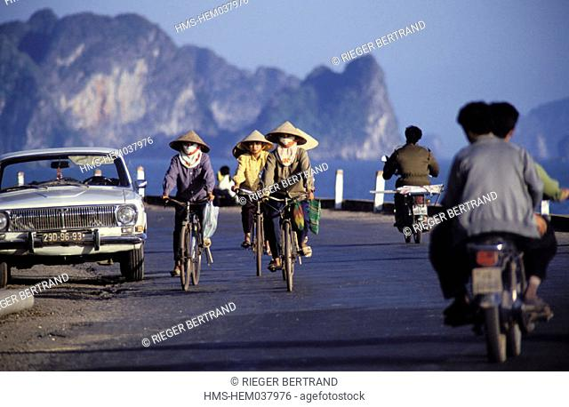 Vietnam, Quang Ninh province, a road across the Halong bay