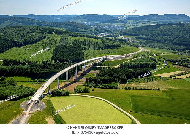 Aerial view, A46 expansion, Bestwig and Olsberg, motorway bridges, Sauerland, North Rhine-Westphalia, Germany