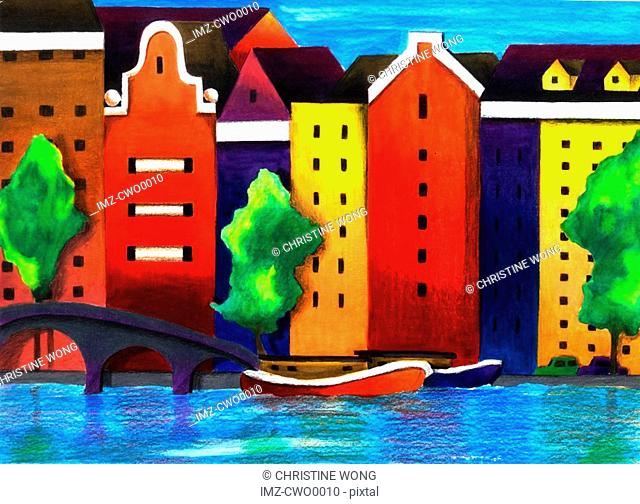 Illustration of houses on the banks of canals in Amsterdam